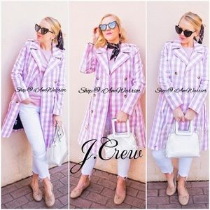 J. Crew NWOT gingham belted trench coat